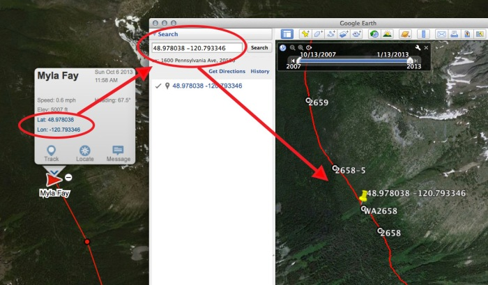 Tracking your hiker with Google Earth